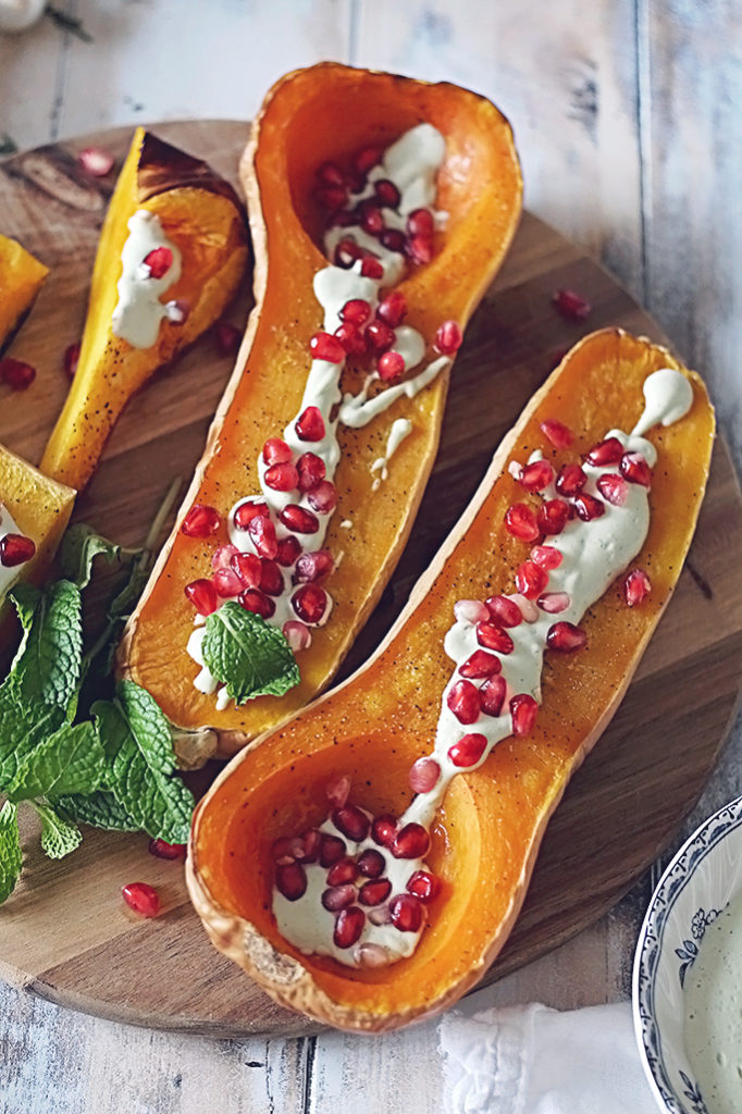 <center>ROASTED BUTTERNUT SQUASH WITH A CASHEW MINT CREAM</center>